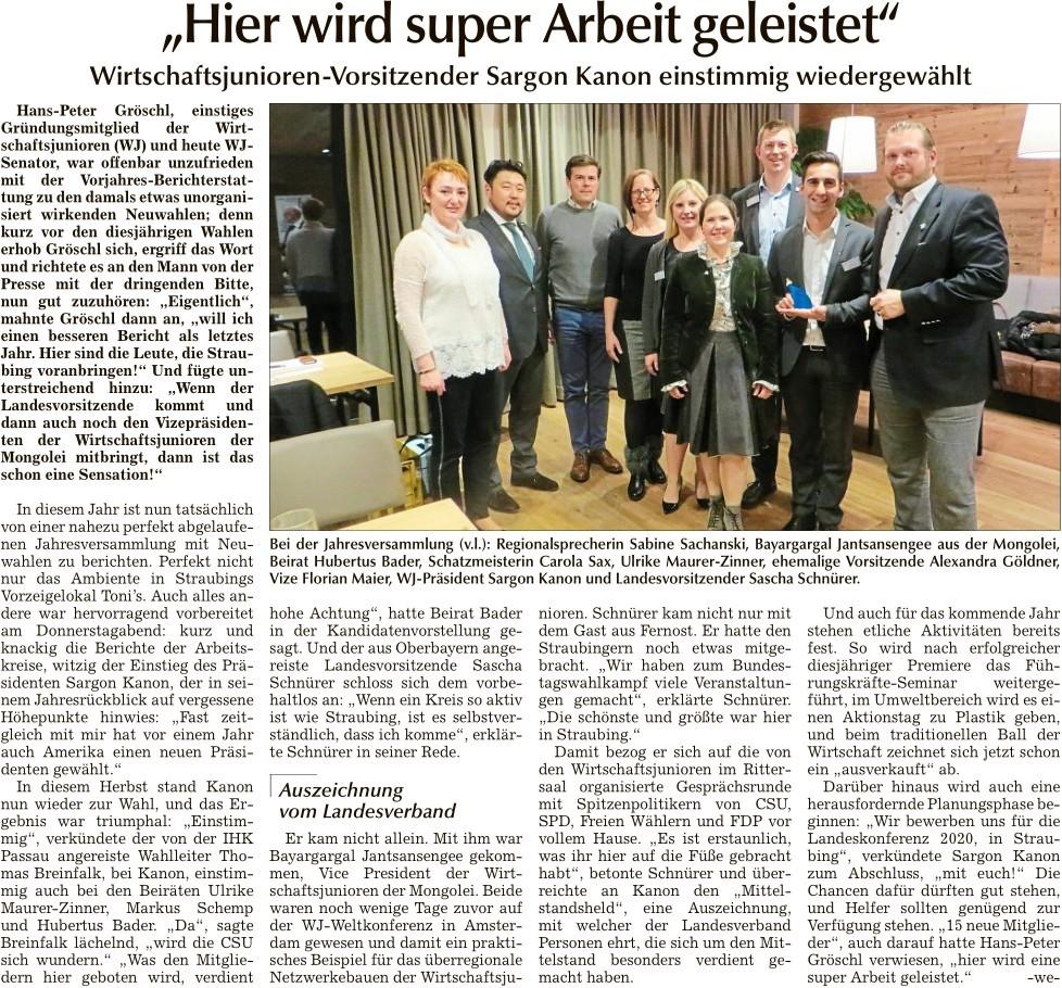 Bericht Tagblatt JHV 2017